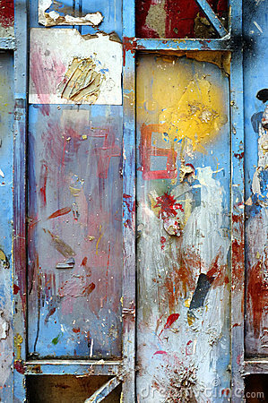 Old grunge color paint on metal wall background