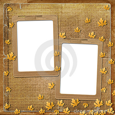 Old grunge frame with autumn leaves