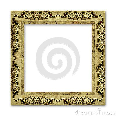 Old grunge frame isolated on white
