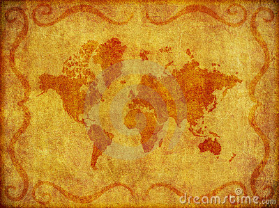 Old, Grunge Map of the World Illustration