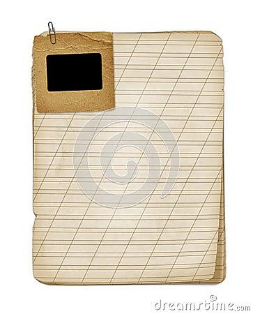 Old grunge notebook with slide