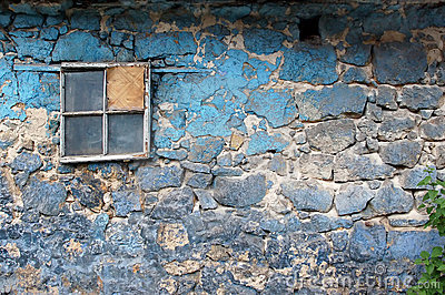 Old grunge wall with window