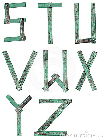 Old Grunge Wooden Alphabet