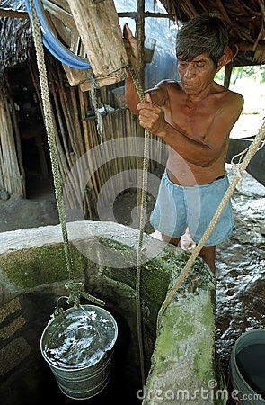 Free Old Guatemalan Indian Man Gets Water From Well Royalty Free Stock Image - 94820086