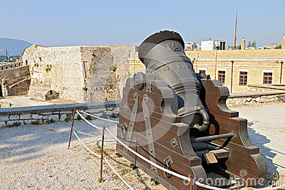 Old gun at Corfu island in Greece