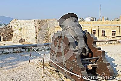 Old gun at Corfu island in Greece
