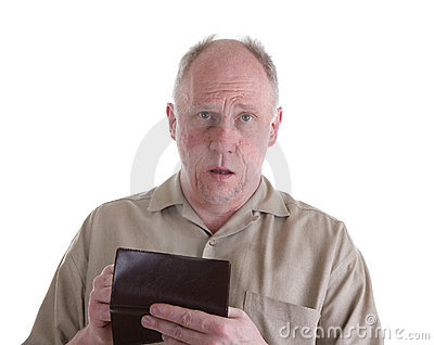 Old Guy in Brown Shirt with Checkbook