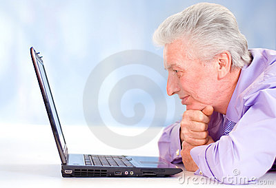 Old guy with computer
