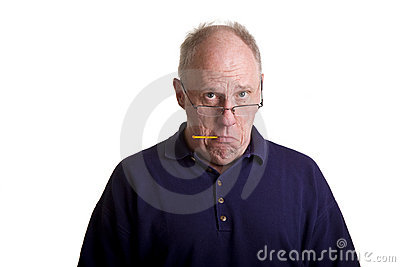 Old Guy Sick with Thermometer in Mouth