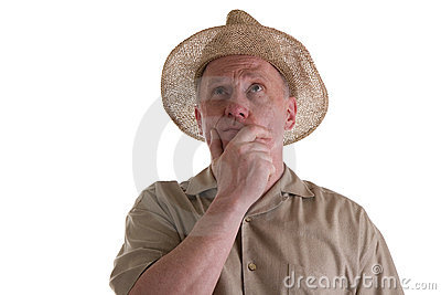 Old Guy in Straw Hat Looking Up