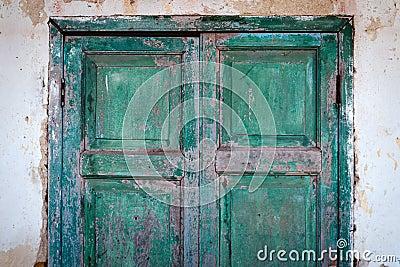Old Half Grunge Green Wood Door