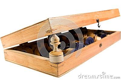 Old half-open wooden chessboard
