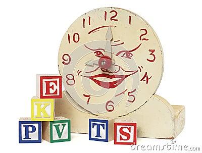 Old Handmade Wooden Toy Clock and Alphabet Blocks