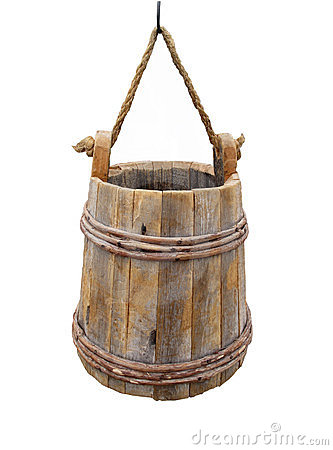Free Old Hanging Wooden Bucket Isolated Stock Images - 23501824