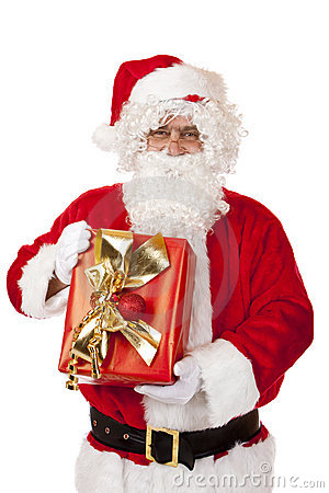 Old happy Santa Claus holding Christmas gift