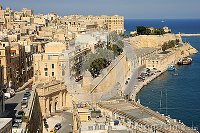 Old Harbor and Victoria gate, Valetta, Malta. Editorial Image