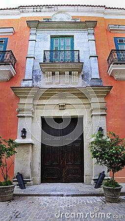 Old havana colonial building facade