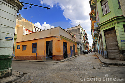 Old Havana street with colorful buildings