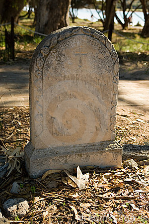 Old headstone in cemetery