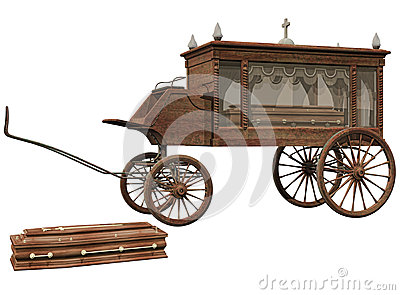 Old hearse and coffin