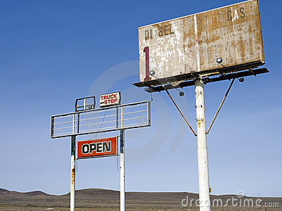 Old highway signs in the Nevada desert