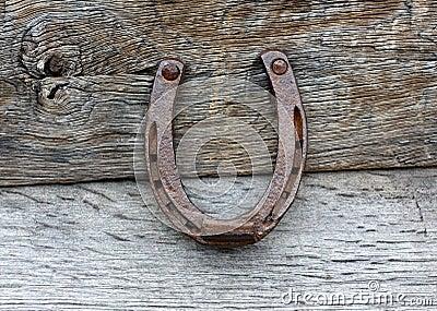 Old horseshoe on wooden background