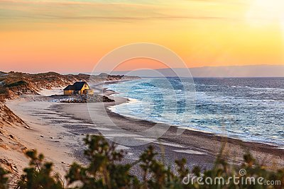 Old house at the beach near Gammel Skagen Stock Photo