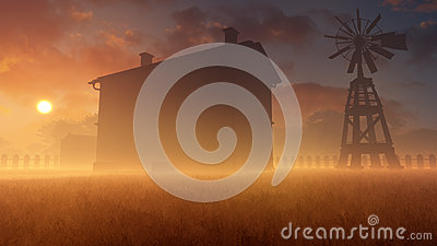 Old House And Windmill In Misty Sunset