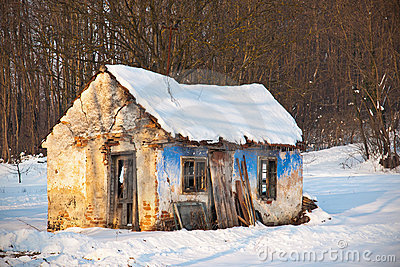 Old house in winter scenery