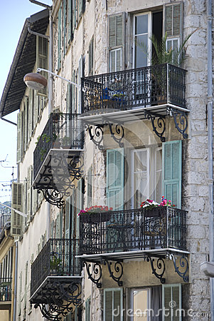 Free Old House With Small French Balconies, France Royalty Free Stock Photos - 28402448