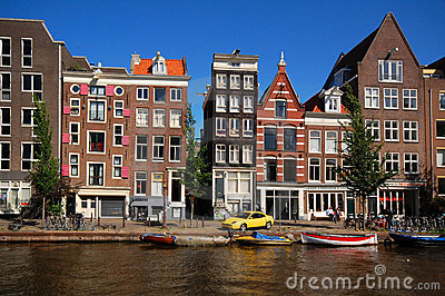 Old Houses Along The Canal In Amsterdam Royalty Free Stock