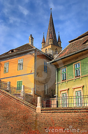 Old houses in front of a church