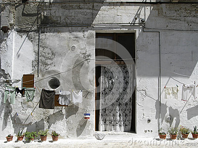 Old houses of Matera, Italy, with clothes hanging