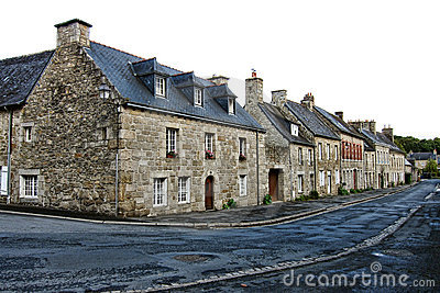 Old Houses on Small Town Street in Brittany France