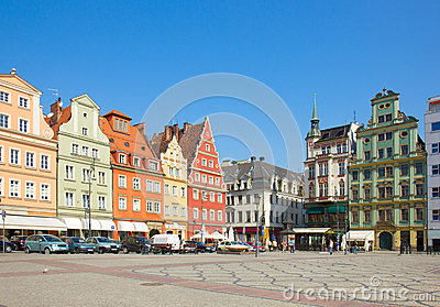Old houses on square Solny in  Wroclaw