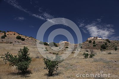 Old hystorical fort in mountain of Marocco