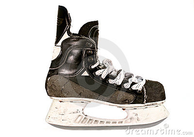 Old ice hockey skate, isolated