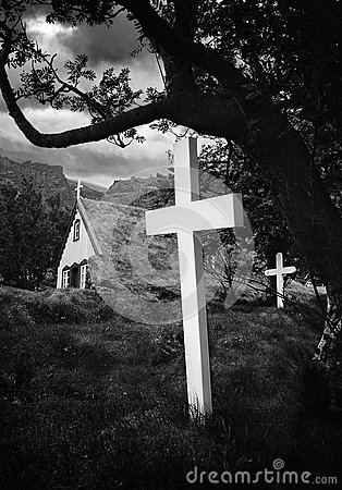 Free Old Iceland Church And Cemetery Royalty Free Stock Photo - 32346295
