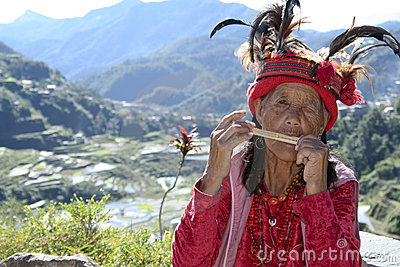 Old ifugao woman rice terraces philippines Editorial Photo