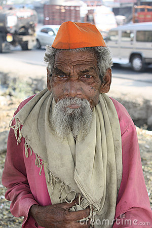 Old Indian Beggar Editorial Stock Image