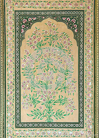 Old indian floral ornament on door in India