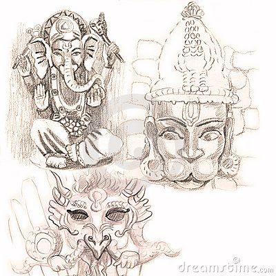 Old indian gods - drawing
