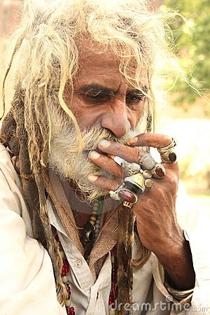 Old Indian male, with dreadlock hair Editorial Stock Photo