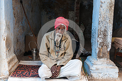 An old Indian man with a red turban Editorial Photography