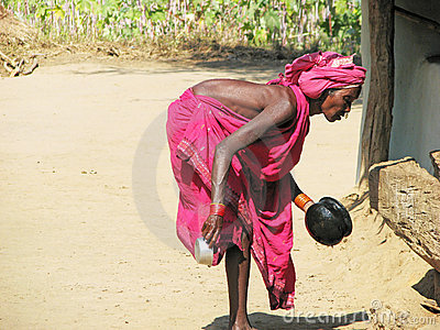 Old indian tribal woman in the village Editorial Image