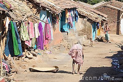Old indian tribal woman in the village Editorial Photo