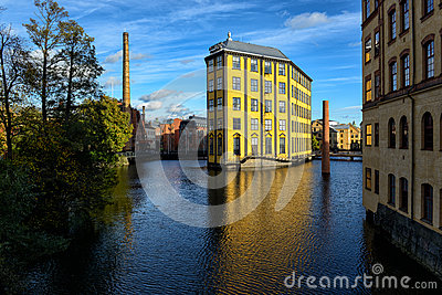 Old Industrial Landscape in Norrkoping Editorial Photography