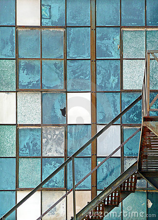 Old industrial window and fire escape abstract