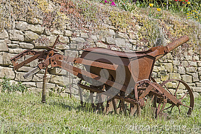 Old iron plow Stock Photo