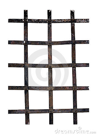 Free Old Iron Window Bars - Isolated Over White Stock Photos - 20603263